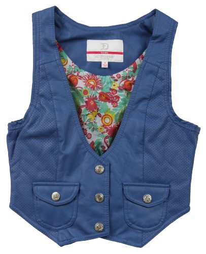 Dollhouse Juniors PU Imitation Leather Vest with Floral Lining - Blue (Medium) (Thumbs Up Rain Boots compare prices)