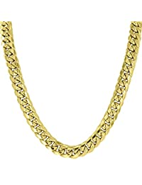 36 Inch Miami Cuban Link Necklace Chain Real 10K Yellow Gold Mens 9 MM Classy