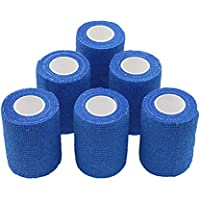nilo Antiadherente vendas – 6 rollos de 10 cm x 4,5 m, etiqueta vendaje, elástico vendaje, Vet Wrap, Deportes Wrap (Azul…
