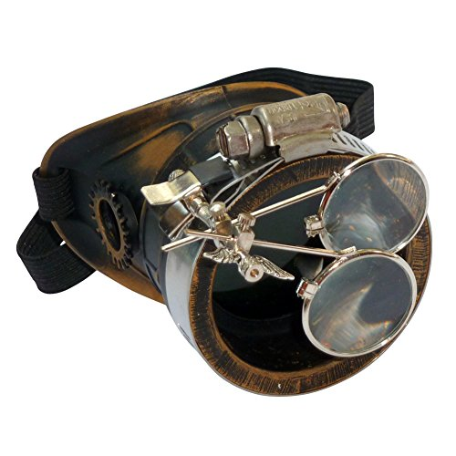 UMBRELLALABORATORY Men's Steampunk Victorian Monocle Dark Lens Right Eye One Size Gold Dark