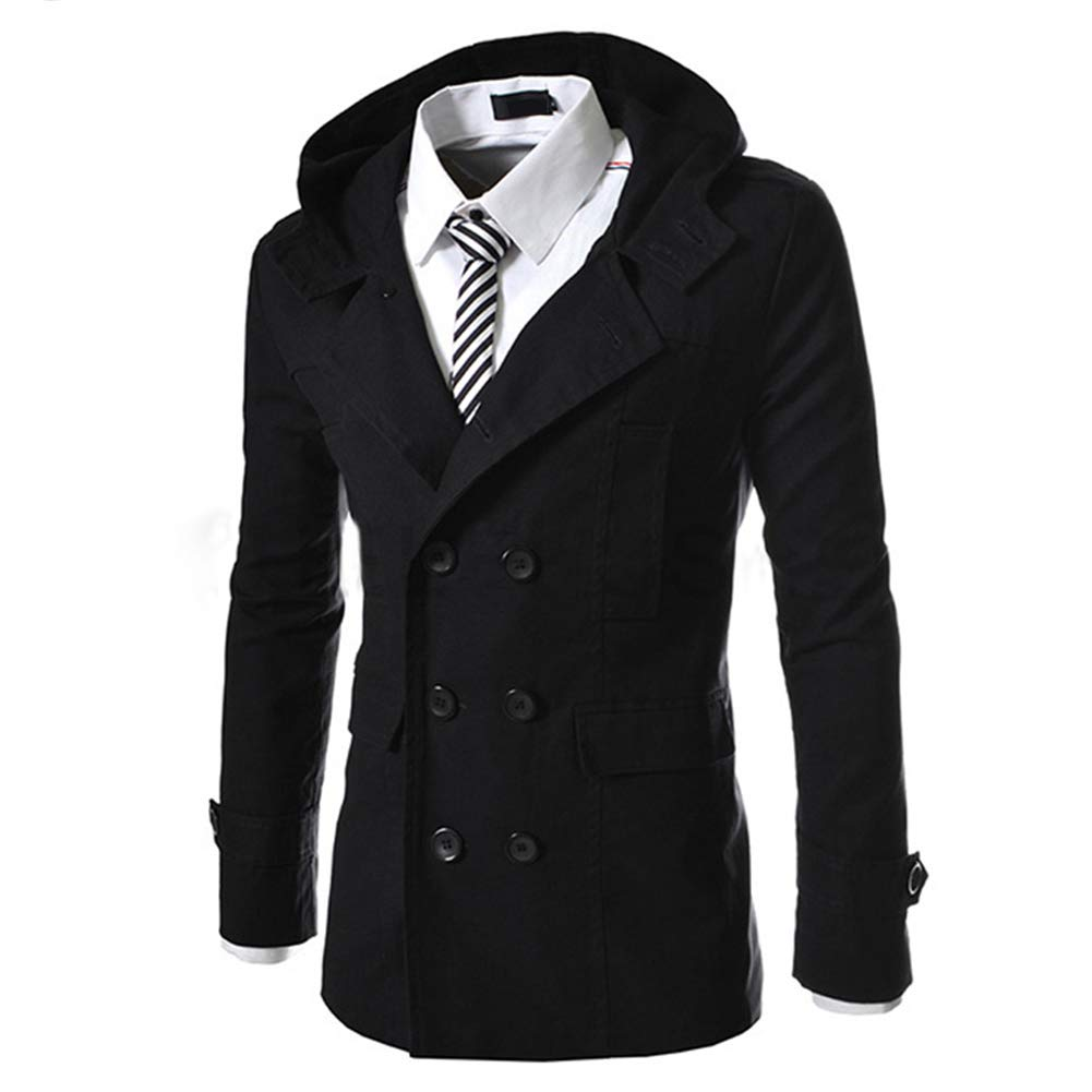 AOWOFS Mens Hooded Coat Trench Coat Short Casual Jacket Pea Coat Double Breasted Overcoat