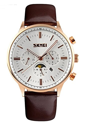 Mastop Brand Good Quality quartz Leather Pointer Display 30M Waterproof Men And Women Moon Phase - Good Quality Brands