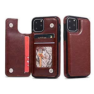 TERSELY Leather Wallet Card Case Cover for Apple iPhone 11 Pro Max 6.5 Inch, Leather Wallet Slim Ultra Thin Magnetic Hard Cover Shockproof Protective Sleeve Stand Case for iPhone 11 Pro Max - Brown
