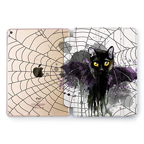 Wonder Wild iPad Black Cat Case 9.7 Pro inch Mini 1 2 3 4 Air 2 10.5 12.9 2018 2017 Design 5th 6th Gen Clear Print Smart Hard Cover Animals Bat Spider Web Magic Salem Kitten Halloween Paint Drops