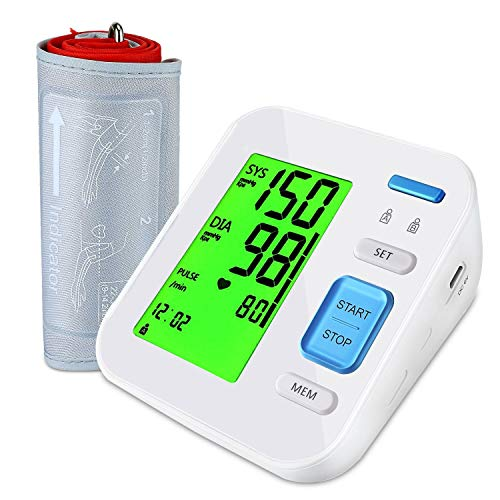 Home Blood Pressure Monitor Upper Arm, BP Automatic Digital Ambulatory Monitoring Adopt Dual Sensor Technology, Larger Tricolor Backlit Display