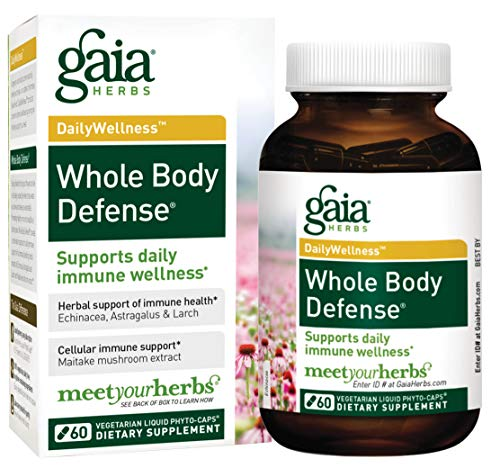 Gaia Herbs Whole Body Defense, Vegan Liquid Capsules, 60 Count - Daily Immune Support and Wellness Formula, Astragalus, Maitake & Organic Echinacea -