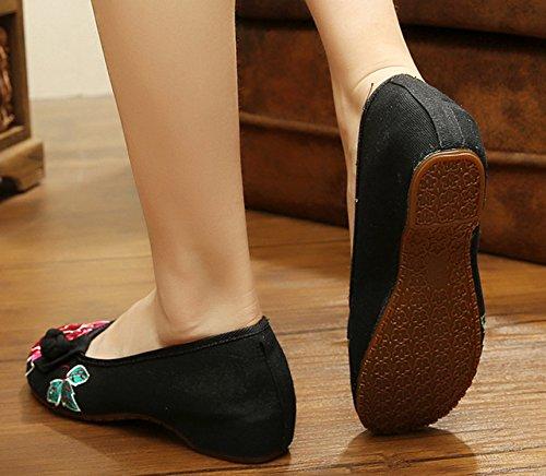 Bailarinas Hecho A Negro Zapatos Del Las Las Mano De Mujeres Para Icegrey Bordado Planos d1RqSWBI