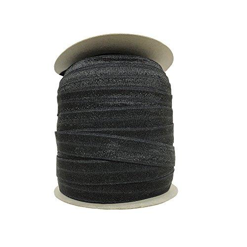 Cinta elástica plegable ecológica de 15 mm para prendas de vestir, Negro, 15MM, 1
