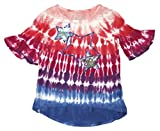 toddler girls tie dye - Flapdoodle Little Girls Tie-Dye Quarter Length Bell Sleeves With Sequin Stars (4T, Pink)