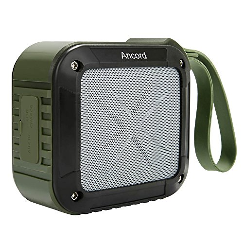 Waterproof Outdoor Bluetooth Speaker with FM Radio by Ancord, IPX6 Water Resistance Built-in Mic Portable 12 Hour Playtime for Travel Hiking Party Green