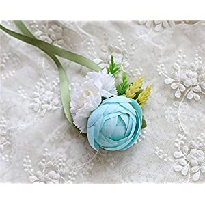MOJUN Tea-Rose Bud Carnation Silk Flower Hand Corsage Wrist Flower Wedding Party Prom Homecoming Decoration 76