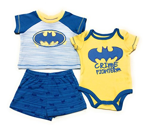 Children DC Comics DC Comics Batman Infant Boys Crime Fighter Bodysuit T-Shirt & Shorts Set, (3-6 - Batman Crime Fighter
