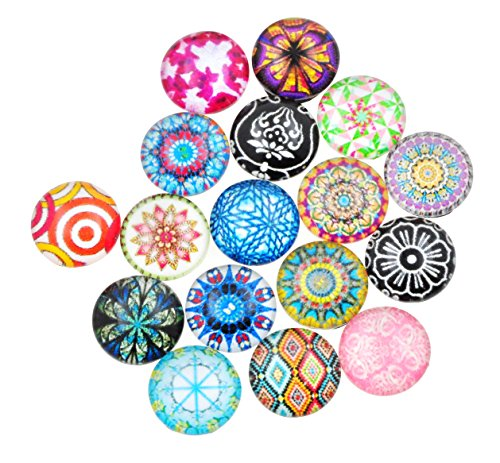 Dome Beads (Mandala Crafts Mixed Color Flat Back Round Dome Printed Mosaic Design Glass Cabochon Beads for Crafting Jewelry Making (12mm X 4mm, Bohemian Mix))