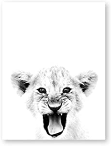 GSMWY Baby Lion Poster and Print Wildlife Wall Art Canvas Painting Lion Cub Black White Modern Photography Wall Picture Home Decor 40x50cm No Frame