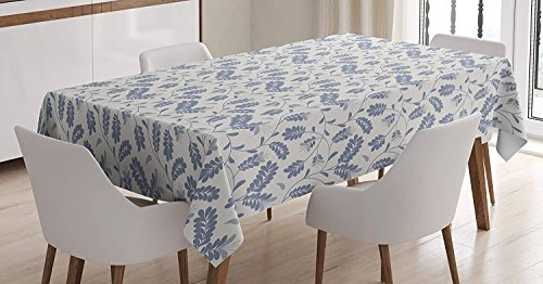 - CHARMHOME Floral Cotton Linen Tablecloth, Dining Room Kitchen Rectangular Table Cover 60(W) X104(L) inchInch, Simplistic Ornamental Design of Honey Locust Leaves Repeating Pattern