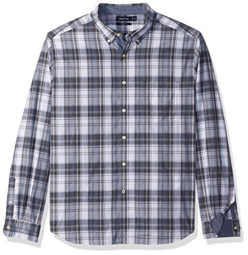 Nautica Men's Long Sleeve Large Plaid Button Down Shirt, Grey Shadow Medium - Shadow Plaid Shirt