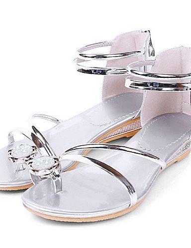 LFNLYX Zapatos de mujer-Tacón Bajo-Plataforma / Anillo Frontal-Sandalias-Vestido-Semicuero-Plata / Oro golden