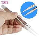 AMZVASO - Heat Resistant Stainless Steel Ceramic Tweezers Pointed Tip For Coils