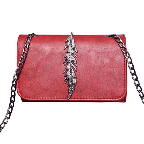Mini Bag Red Yuan Shoulder Leaves Retro Fashion Chain Handbags Wine Decorated xrrqtwv