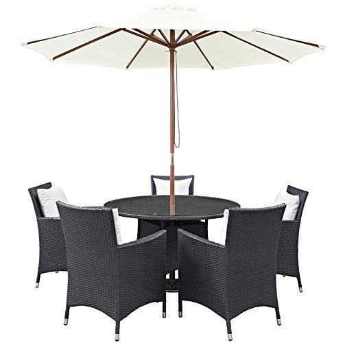 Convene 7 Piece Outdoor Patio Dining Set, Espresso White Size : 47