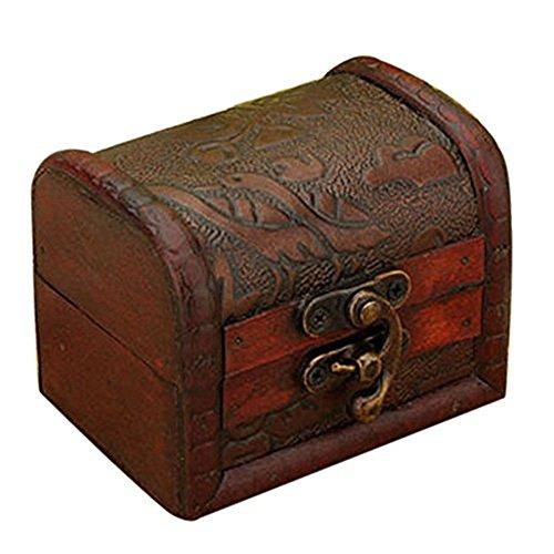 Hofumix Jewelry Box Vintage Wood Handmade Box with Mini Metal Lock for Storing Jewelry Treasure Pearl