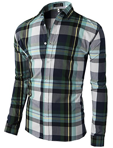 H2H Mens Various Styles and Colors Check Patterned Slim Fit Button Down Shirts BLUEGREEN US M+/Asia XL (KMTSTL0406)