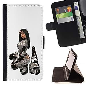 BullDog Case - FOR/HTC One M7 / - / Sexy Bounty Hunter /- Monedero de cuero de la PU Llevar cubierta de la caja con el ID Credit Card Slots Flip funda de cuer
