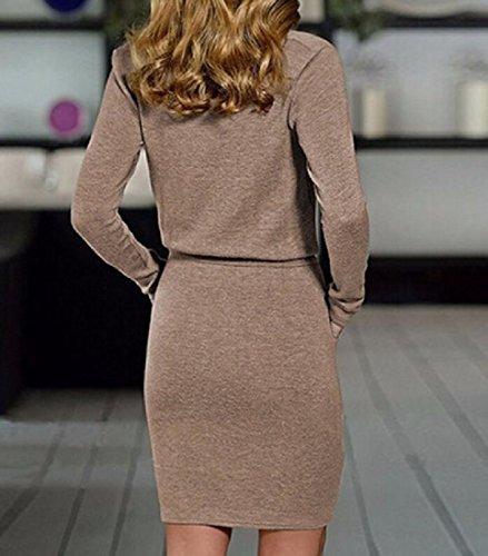 Coolred Fit Women's Collar Solid Slim Piles Classic Evening Dresses Khaki qPrrwdI