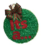 It's a Christmas Gender Reveal Pinata 16'' Red & Green Bow Pull Strings Style