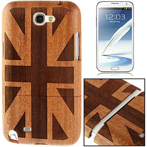 (#52) Woodcarving UK Flag Pattern Detachable Cylindricum Wood Material Case for compatible with Galaxy Note II / N7100 (Best Wood For Carving Uk)