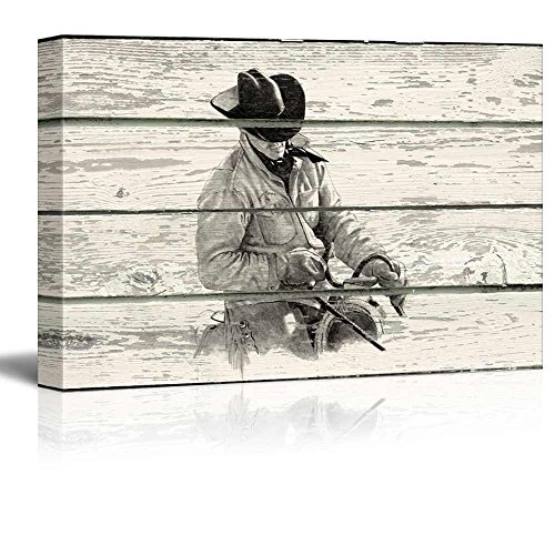 Rustic Scene of a Cowboy on His Horse on a Wooden Background
