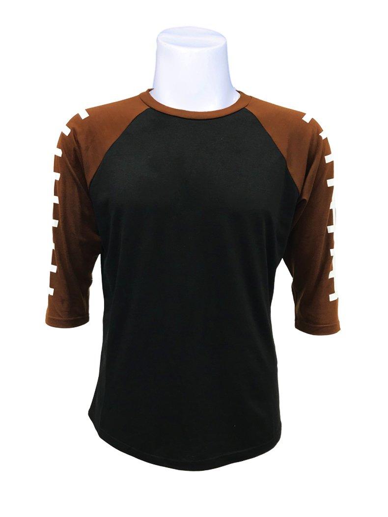 ILTEX Football Raglan 3/4 Sleeve Baseball Style Kids & Adult Unisex (Adult Medium, Black/Brown)