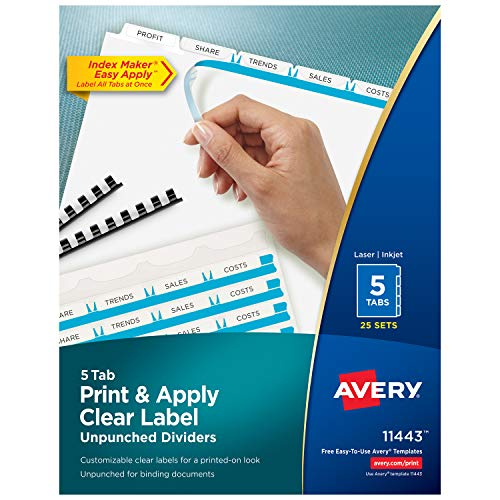 Avery 5-Tab Unpunched Binder Dividers, Easy Print & Apply Clear Label Strip, Index Maker, White Tabs, 25 Sets (11433) Avery Index Maker White Dividers