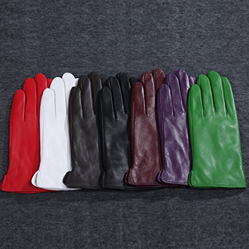 Kursheuel 14 colors Cashmere Women Lady's Genuine lambskin soft leather driving Gloves KU141 (L, Purple) by Kursheuel (Image #4)