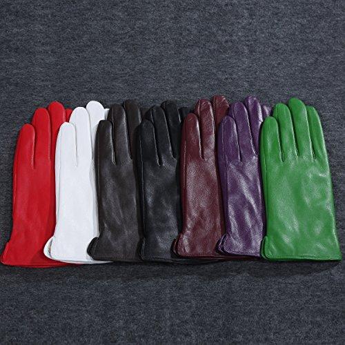 Matsu M9022 レディース ラムスキン手袋 冬用 暖かい 柔らかい レザー 運転用 US サイズ: Large