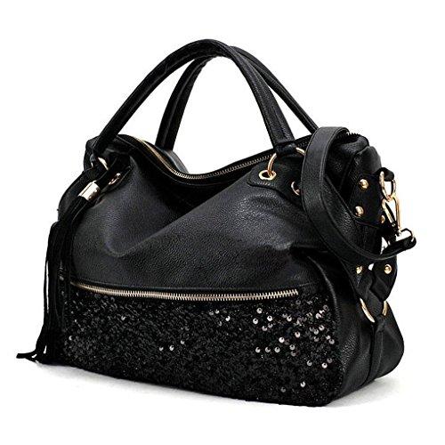 TOOGOO(R) Nero donna Sacchetti di spalla borse Borsa Hobo Messenger Messenger pelle Bag