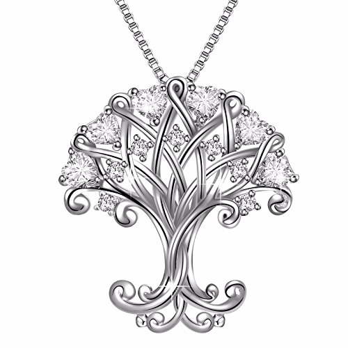 925 Sterling Silver Clear Heart Cubic Zirconia Life Tree Pendant Necklace, Box Chain 18