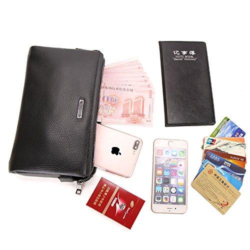 8d4bae18381 Anti-Theft Men Clutch Handbags RFID Men Cowhide Genuine Leather Wallet men s  Clutch Bag Handbag Business Organizer Checkbook Purse SAJOSE(Black)