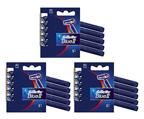 15x Gillette Blue II Disposable Razors Dual Blades Plus Chromium Coating 5pk x 3