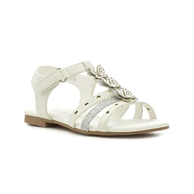 345d7b358b38 Walkright Girls White Butterfly T-Bar Flat Sandal - Size 4 Child UK - White