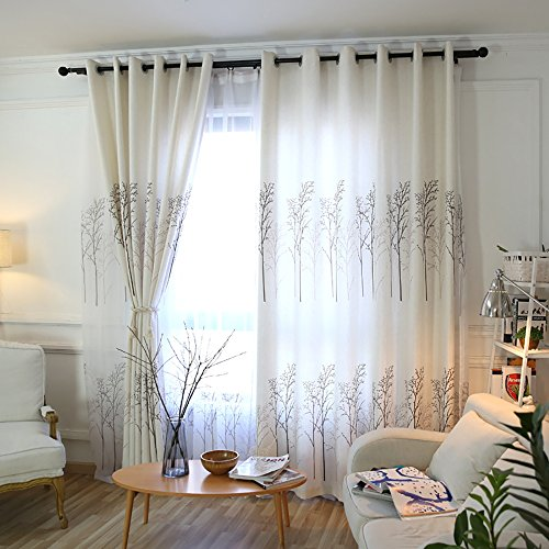KoTing Blackout Lined Tree Curtain Drape 1 Panel Room Darkening White Linen Drape for Bedroom Grommet Top 100 inch Long