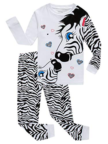 (Zebra Little Girls Long Sleeve Pajamas 100% Cotton Pjs Size)