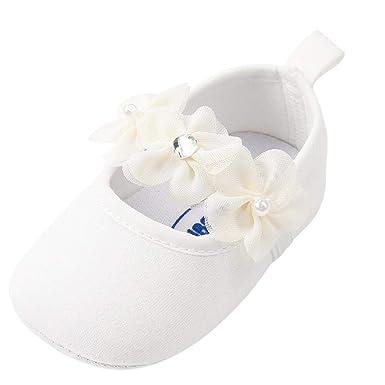 62068a665 Zapatos Bebe Niña Primeros Pasos Perla Algodón Zapatos para Recien nacido  bautizo  Amazon.es  Ropa y accesorios