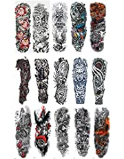 L-Tornado Temporary Tattoo 10 Sheets- Full Arm and Half Arm Temporary Tattoo for Men or Women Body Art Tattoo