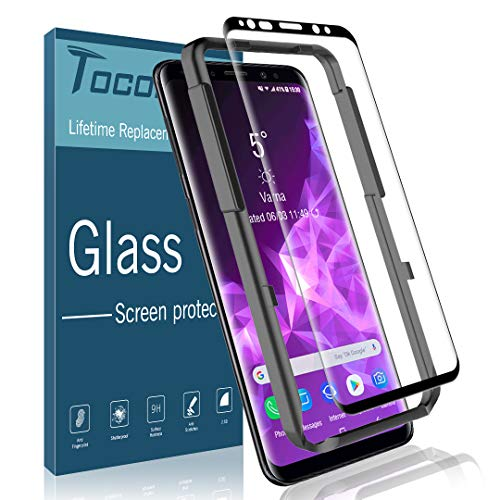 TOCOL Screen Protector for Samsung Galaxy S9, [3D Curved] [Alignment Frame Easy Installation] 9H Hardness [Anti-Scratch] [Anti-Bubble] HD Clear Tempered Glass with