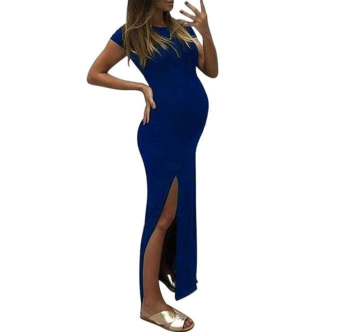 c8a44dfbfd Jimmackey Vestiti Premaman da Donna,Abiti Eleganti Donne Incinte Abito a  Manica Corta a Tinta Unita Cerimonia Premaman Allattamento Elegante  Maternity Dress ...