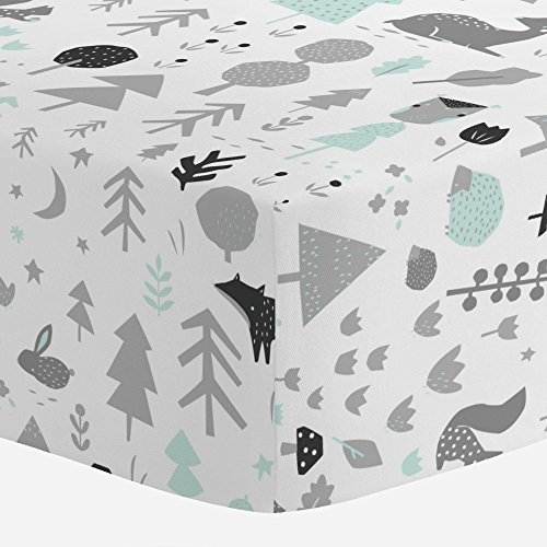 Carousel Designs Icy Mint and Silver Gray Baby Woodland Crib