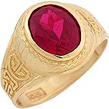 10k Yellow Gold Simulated Ruby Greek Design July Birthstone Mens Ring