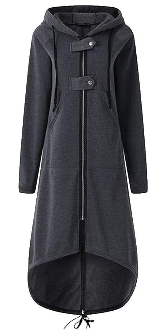 WAWAYA Women's Zip Front Hoodie Plus Size Loose Fit Fall Winter Trench Coat Jacket