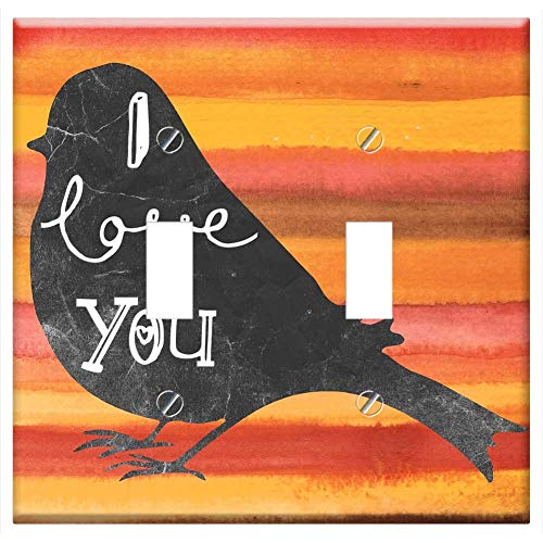 Switch Plate Double Toggle - I Love You Bird Watercolor Orange Message Card